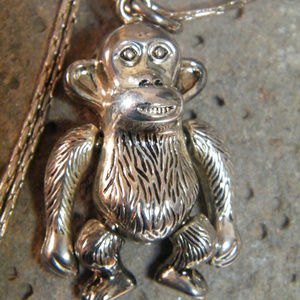Jewelry - Monkey Chimpanzee Jointed Silver Pendant Necklace